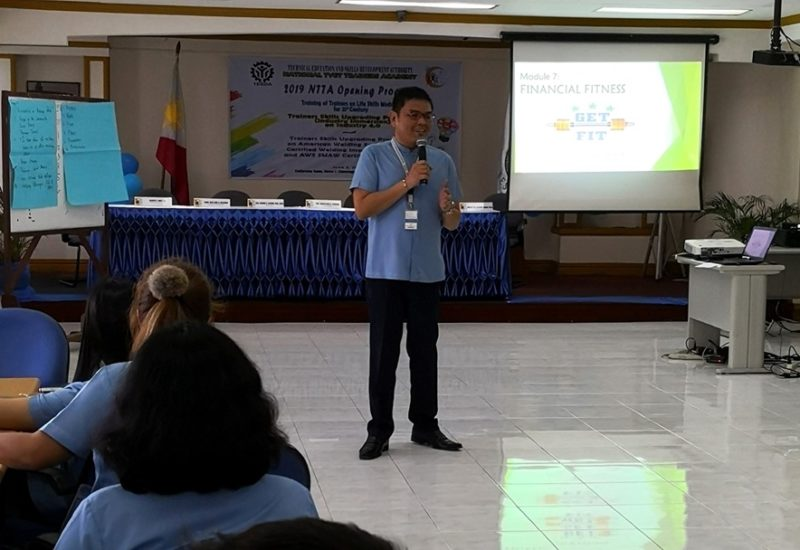 Participant turned Facilitator: Dr. Alvin Yturralde on Financial Fitness during the Training of Trainers on the 21st Century Life Skills Modules