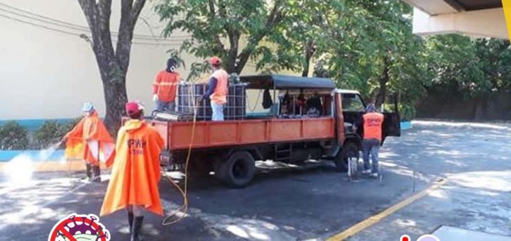 Disinfecting of RTCCL Guiguinto grounds and facilities led by the Department of Public Works and Highways to prevent the spread of COVID-19